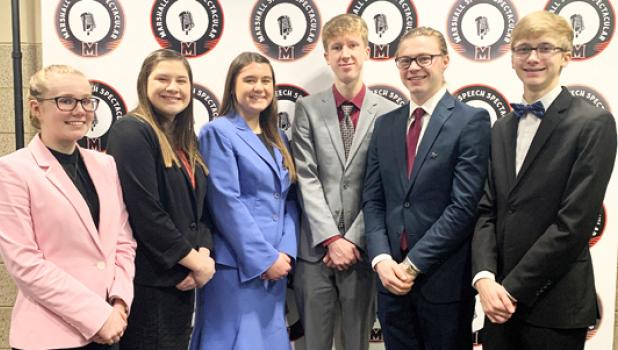 Speech team members did well at Marshall Speech Spectacular and they include: (left to right) Zoe DeBoer, Katie Walerius, Emma Lipinski, Sean Dilly, Brenden Kimpe, and Jacob Haen. They were amongst the finalists.