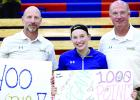 Getting their 400th coaching wins were Coach Chad Johnston (left) and Dale Kockelman 9right) while Morgan Hennen scored her 1,000th career point Friday night.