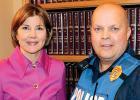 Minnesota Attorney General Lori Swanson and Minneota Police Chief Bill Bolt.