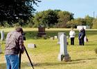 Filming took place at the cemetery site of the church with Kayann Riecke, her husband Ross and her mother Kathleen Jacobson talking it over with the filming crew.