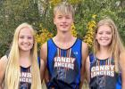 Canby/Minneota seniors running their final meet of the high school careers last Thursday were, left to right: McKenzie Ruether, Isaac Bach, Rachel Wollum.