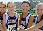 The current relay team includes (left to right) Emily Gillingham, Grace Drietz, Kalli Jelen and Ann DeSmet.