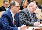 Minneota Superintendent Dan Deitte testified on one of Senator Gary Dahms' (right) bills in the Senate Tax Committee last Tuesday.