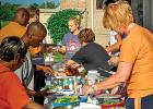 Emily Rybinski and Shannon Brewers helped distribute food.