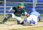 Mudhen catcher Jesse Drager made the tag on Tylan Gylling of Ruthton in Minneota's 12-3 win over Ruthton Sunday. The out was a relay from right fielder Preston Nuy to first baseman Danny Hennen to Drager.