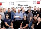 Last week Duane Peterson of the State Bank of Taunton presented a check for $250 to the Minneota First Responders.