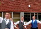 Minneota senior boys did a little mocking of the old tradition of tossing the bouquet at weddings during the Minneota Prom on Saturday.