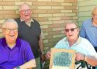 Four members of Minneota's 1948-49 six-man football team attended their 70th class reunion in Taunton on Saturday. From left to right: Chuck Friend, Tony Fier, Allan Josephson and Tom Swedzinski.