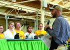 "Gared Moorse and ""Nugget"" listened to Judge Zach Sauer (fourth from left), then came up big in the judging."