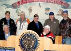 Veterans in the meeting room at the American Legion include: (front row, left to right) Leon Kack and Byron Higgin. Back Row: Tom Hovland, Harold DeSmet, Ed Lozinski, Gary Buysse and Jim Fink.