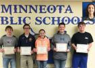 Congratulations to March Viking Valors! High School students are (left to right):  Landon Abraham, Donnie Schuelke, Abby Frie, Braxton Downing, Nolan Boerboom and Jaymes Moon (inset).