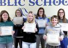 High School Valor Vikings are: (front row, left to right) Alyssa Engels, Ashlynn Craft and Carter Schuelke. Back Row: Grace Jeremiason, Beth Hennen,  and Katie Konold.