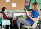 Elizabeth Garvey and Natalie Ratajczak took time to read.