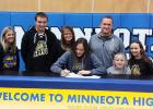 Lydia Sussner (center) signed her National Letter of Intent to play at Southwest Minnesota State University. On hand for the signing was Minneota Head Volleyball Coach Hayley Fruin, Lydia's family brother Logan, mother Nacole, father Jeff and sisters Libby and Lyzah.