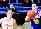 Morgan Hennen got a pass and was ready to drive the lane against Cromwell-0Wright's Shaily Hakamaki.