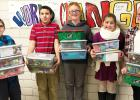 Students from St. Edward School put together Christmas Boxes for Operation Christmas Child and sent this off. Student council members are: (left to right) Joe Beisler, Robert Beisler, Wyatt Pohlen, Elizabeth Garvey and Madison Hennen. The MHS National Honor Society also donated boxes for the cause.
