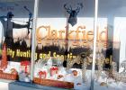 The Clarkfield Outdoors Window is decorated for the holidays as it welcomes visitors to Clarkfield's main street.