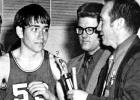 Paul Mix being named MVP of a Ninth Grade tournament shortly before becoming ill. Head varsity coach Dale Hatch (front) and freshman coach Chuck Goerisch present him with a trophy.