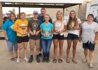 The youth included: (left to right) Minnesota COF Sponsor/Treasurer Jane Murschel; First Place Lindsey Bernardy; second place Brandon Seifert; Chief Ranger Steve Hennen (back); third place Brittney Seifert, fourth place Morgan Hennen and Honorable Mention Abby Hennen.