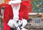Greg DeVos, who has played Santa Claus for various events for 27 years, pets Asher, the Minneota Fire Hall dalmatian before the parade this past Friday night.