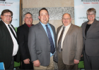 Pictured left to right are Sheldon Johnson and Gene Stengel – Yellow Medicine County Farm Bureau, Senator Gary Dahms (R-Redwood Falls), Representative Chris Swedzinski (R-Ghent) and Carolyn Olson – MFBF District III board representative.