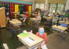 The students in Mrs. Rabaey's class are wearing their masks on the first day of school Tuesday.