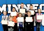 The Minneota elementary Students of the Month are: (Front row left to right) Bennett Myhre, Alyzabeth Schmidt and Nolan Coequyt. Back: Averi Hennen, Colton Bitker, Leo Hennen, Quinton Anderson and Olivia Claeys.
