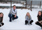 The Sussner siblings now take care of their late grandfather's (Fuzzy Downing) pheasants on N. Washington Street in Minneota. From left to right, Lyzah, Logan, Libby and Lydia. The Sussners reported that approximately half of the 100 pheasants that escaped returned to the cages following the early February snow storm.