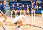Minneota'a McKenzie Tolk goes low for a dig and Lyzah Sussner looks on Tuesday night against MACCRAY.