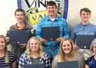 Scholarship winners include: (Front row, left to right) Jennifer Krog, Kira Gifford, Brooklynn Downing and Fran Fier of the Lincoln County Corn & Soybean Growers. Back: Noel Swedzinski, Ethan Krier and Brant Buysse.