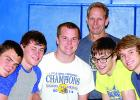 Wrestlers helping bring home the second place trophy were: (left to right) Shawn Buysse, Brendan Reiss, Alec Bueltel, Cole VanOverbeke and Brant Buysse. In the back was coach Joel Skillings. Missing were T.J. Esping, Austin DeVlaeminck and Teddy Pesch.