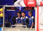 Minneota driving team, left to right, Reid Fier (pilot), Logan Schuelke and Devyn Hansen (co-pilot) during competition on Saturday with a teammate (far left) looking on.