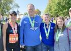 Running in the Twin Cities Marathon last weekend were: (left to right) Travis Gillund, Lisa Gillund, Brian Jeremiason, Davett Jeremiason, Jami Bossuyt and Bruce Bossuyt. Missing was Shelby Corbin.