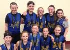 Sixth Grade Basketball team is: Front row: (left to right) Nevaeh Hennen, Kirsten Hulzebos, Grace Hennen, Lyzah Sussner and Mariah Buysse. Second Row: Dakota Pesch, Brooke DeSmet, Teslyn Saltzer, Dakoda Hennen and Tiffany Gronke.
